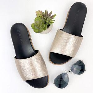 M. GEMI Fuoco Flat Metallic Pebbled Leather Slide